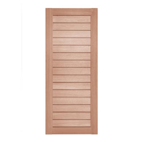 BEST ประตูไม้สยาแดง บานทึบทำร่อง  80x220cm. GS-52