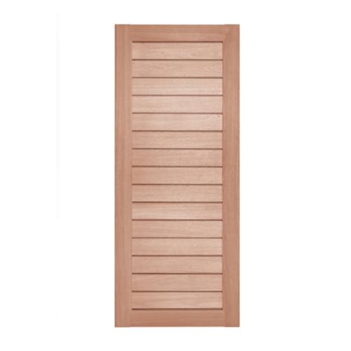 BEST ประตูไม้สยาแดง บานทึบทำร่อง ขนาด 80x220cm.  GS-52