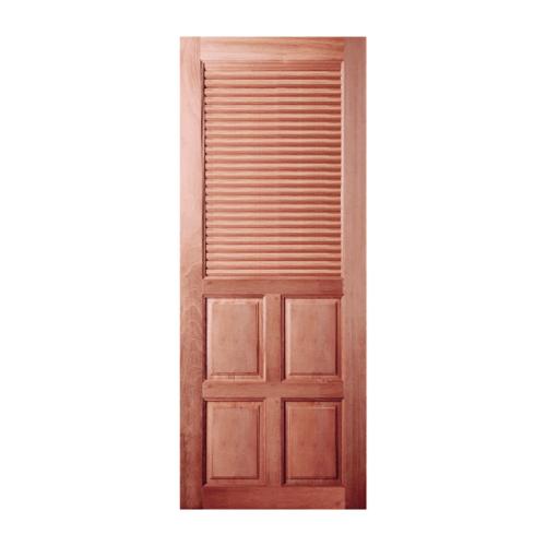 BEST ประตูไม้สยาแดงลูกฟักพร้อมเกล็ดครึ่งบานบน 70x180 ซม. GS-25