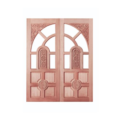 BEST สพ-ประตูไม้สยาแดง ลูกฟักแกะลาย (โปร่ง) 80x205ซม. GC-01