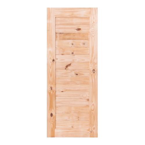 BEST ประตูไม้สน บานทึบทำร่อง ขนาด  100x205cm.  GS-52