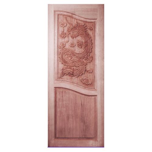 BEST ประตูไม้สยาแดง บานทึบลูกฟักแกะลาย ขนาด  80x220ซม.  GC-10