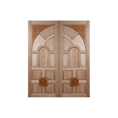 BEST ประตูไม้สยาแแดงบานทึบลูกฟักแกะลาย  70x200cm. GC-01