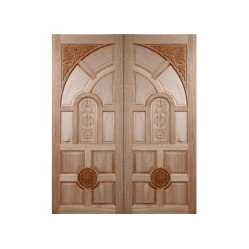 BEST ประตูไม้สยาแดงบานทึบลูกฟักแกะลาย  80x200 ซม..                                GC-01