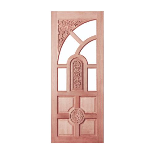 BEST ประตูไม้สยาแดง ลูกฟักแกะลาย (โปร่ง) 90x200ซม. GC-01