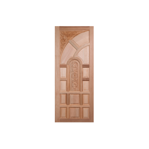 BEST ประตูไม้สยาแดงบานทึบลูกฟักแกะลาย  90x200 ซม.                        GC-02