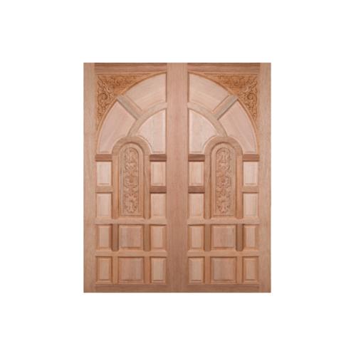 BEST ประตูไม้สยาแดงบานทึบลูกฟักแกะลาย  100x200 ซม. GC-02