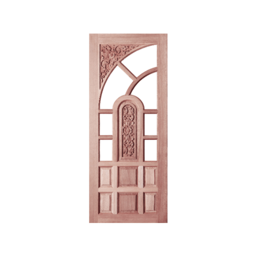 BEST ปะตูไม้สยาแดงลูกฟักแกะลาย  (โปร่ง)  80x200 ซม. GC-02