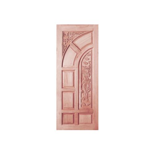BEST ประตูไม้สยาแดงบานทึบลูกฟักแกะลาย 80x200 ซม. GC-03