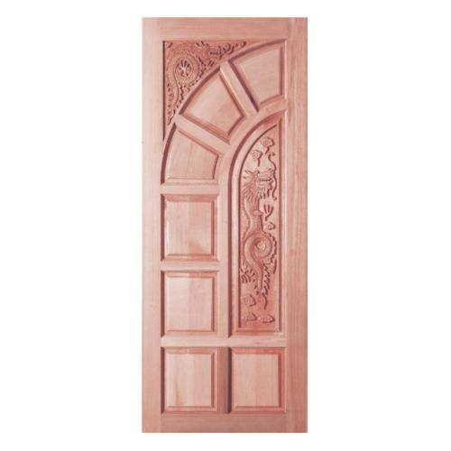 BEST ประตูไม้สยาแดงบานทึบลูกฟักแกะลาย  80x200 cm. GC-04
