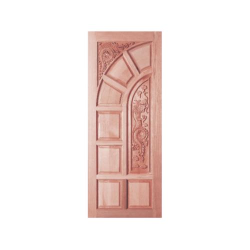 BEST ประตูไม้สยาแดงบานทึบลูกฟักแกะลาย90x200 ซม. GC-04