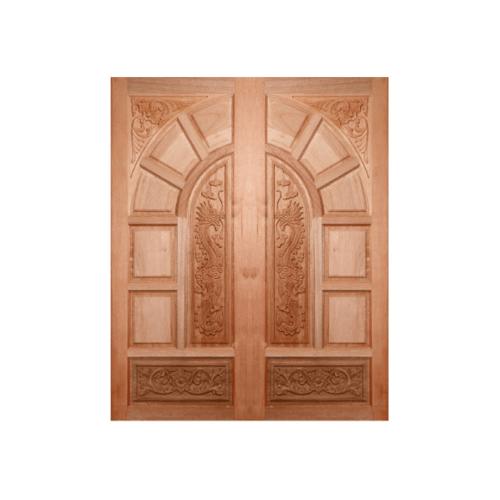 BEST ประตูไม้สยาแดงบานทึบแกะลาย  80x200 ซม. GC-05