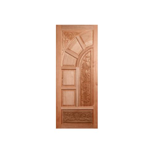 BEST ประตูไม้สยาแดง บานทึบลูกฟักแกะลาย  100x200 ซม. GC-05