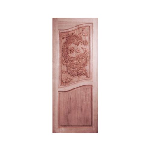 BEST ประตูไม้สยาแดงบานทึบแกะลาย  ขนาด90x200 cm. GC-10