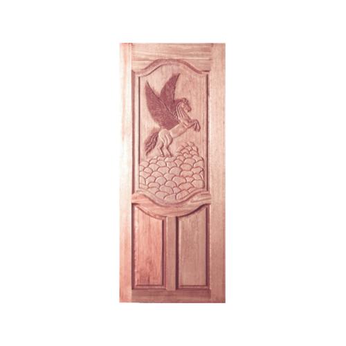 BEST ประตูไม้สยาแดงบานทึบแกะลาย  ขนาด 80x200 cm. GC-13