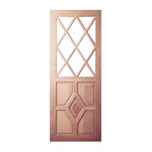 BEST ประตูไม้สยาแดงลูกฟักแกะลาย โปร่ง ขนาด80x200 cm. เฉพาะบานประตู  GC-37