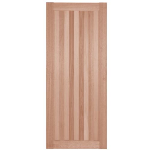 BEST ประตูไม้สยาแดง บานทึบทำร่อง 80x200cm.  GS-46