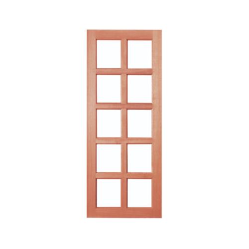 BEST  ประตูไม้สยาแดง10ช่องฟัก (โปร่ง)  ขนาด 80x200 cm  GS-49