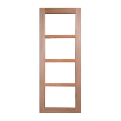BEST ประตูไม้สยาแดง 4 ช่อง (โปร่ง)  ขนาด 80x180 cm. GS-50