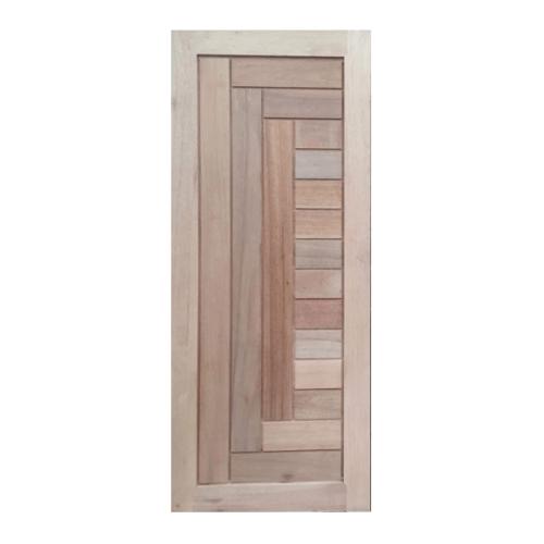 BEST ประตูไม้สยาแดง บานทึบทำร่อง 100x200cm.  GS-04