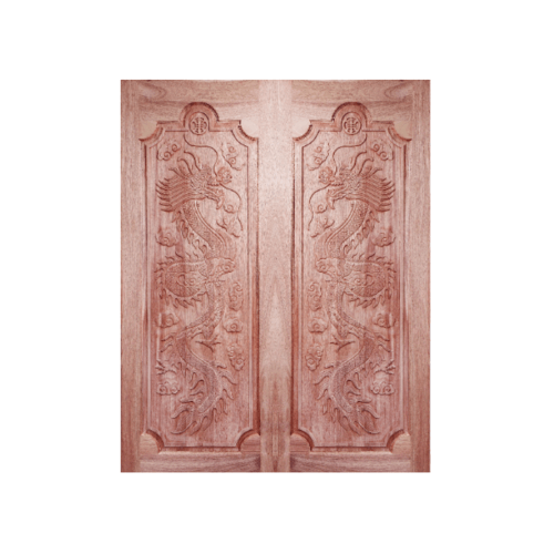 BEST ประตูไม้สยาแดงบานทึบลูกฟักแกะลาย  ขนาด 80x220 cm. GC-17