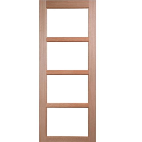 BEST ประตูไม้สยาแดงกระจกใส  80x200cm.  GS-50