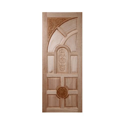 BEST ประตูไม้สยาแดงบานทึบลูกฟักแกะลาย  80x180cm. GC-01