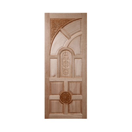 BEST ประตูไม้สยาแดงบานทึบลูกฟักแกะลาย 81x187cm. GC-01