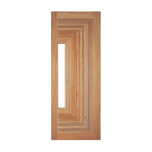 BEST ประตูไม้สยาแดงพร้อมกระจก 80x220cm. BEST GS-05