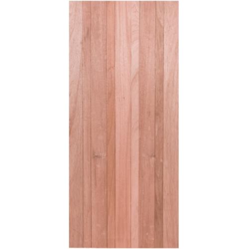 BEST ประตูไม้สยาแดง บานทึบทำร่อง  80x200cm.  Trend-04