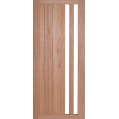 BEST ประตูไม้สยาแดง ทำช่องพร้อมกระจกฝ้า  60x240cm. GS-47