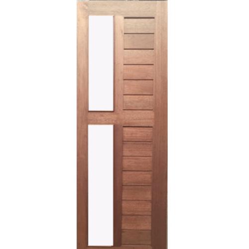BEST ประตูไม้สยาแดง ช่องลูกฟักพร้อมกระจกใส40x220cm.   GS-57