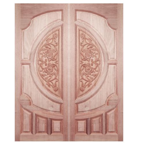 BEST ประตูไม้สยาแดง บานทึบลูกฟักแกะลาย 90x200cm. ทำสี  GC-08