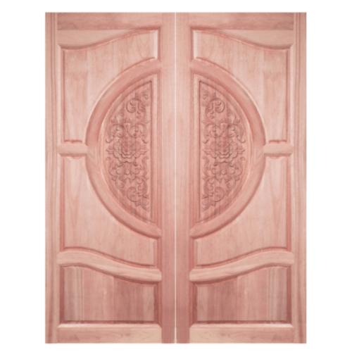 BEST ประตูไม้สยาแดง บานทึบลูกฟักแกะลาย 100x220cm. ทำสี  GC-07