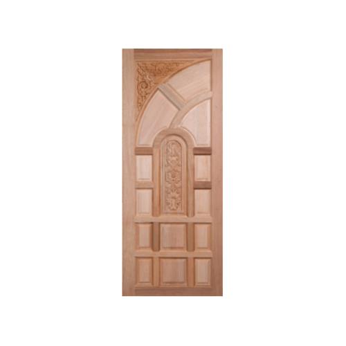 BEST ประตูไม้สยาแดง บานทึบลูกฟักแกะลาย ขนาด  89x240cm.  GC-02