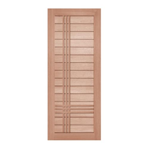 BEST ประตูไม้สยาแดง บานทึบทำร่อง ขนาด  80x200ซม.  GS-52P