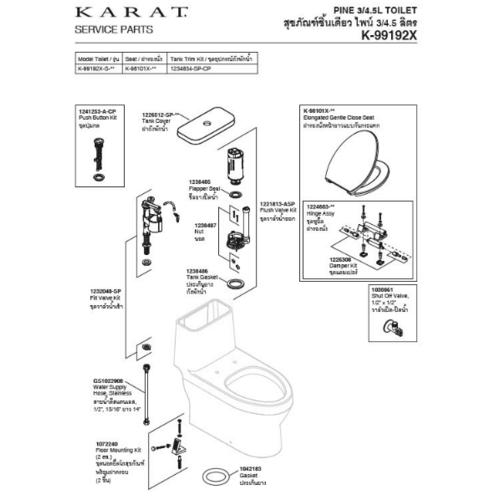 karat ชุดทางน้ำออกสุขภัณฑ์ชิ้นเดียว  ไพน์ 1221813-ASP