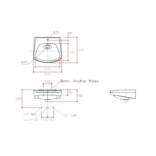 karat อ่างล้างหน้าแบบแขวนผนัง  แซฟไฟร์ทู K-24499X-1-WK  สีขาว