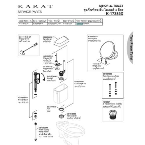 karat อุปกรณ์ถังพักน้ำ รุ่นไมเนอร์ พร้อมมือบิด อุปกรณ์ถังพักน้ำ รุ่นไมเนอร์ พร้อมมือบิด สีขาว