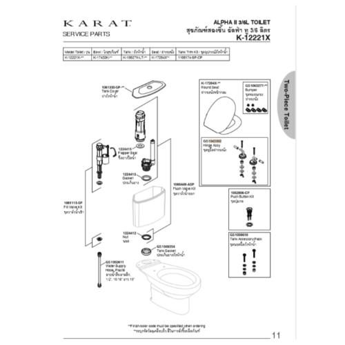 karat ชุดหูฝารองนั่ง GS1043302 สีขาว