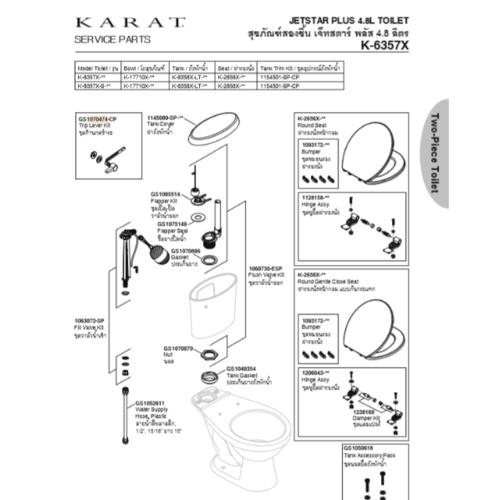 karat มือบิดหม้อน้ำ มาตรฐาน  K-717C สีขาว