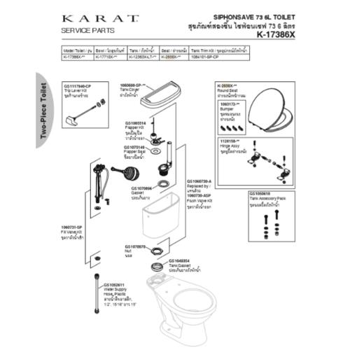 karat ชุดฝารองนั่ง มาตรฐาน แบบหน้ากลม K-2656X  สีขาว
