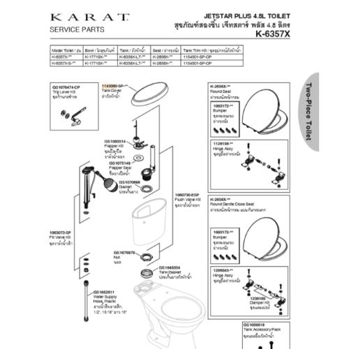 karat ฝาถังพักน้ำ เจ็ทสตาร์ พลัส 1145080-WK สีขาว