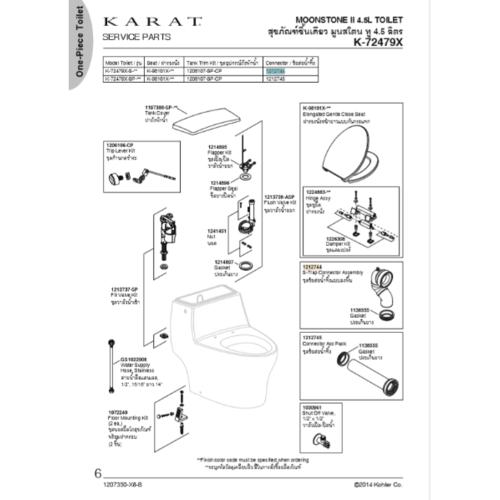 karat ชุดข้อต่อน้ำทิ้ง สุขภัณฑ์ชิ้นเดียว มูนสโตน ทู รุ่น 1212744  สีขาว