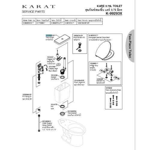 karat ฝาถังพักน้ำ แคร์ 1220064-SP-WK สีขาว