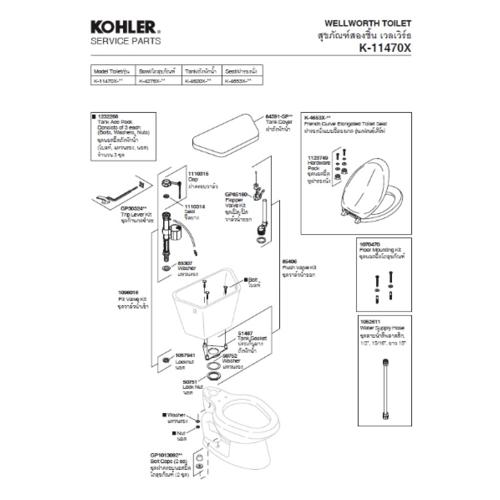 KOHLER ฝาหม้อน้ำรุ่นเลเวิร์ธ K-84591-0