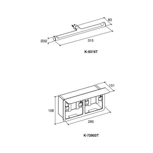 KOHLER ที่ใส่กระดาษชำระคู่แบบมีฝาปิด  JULY  K-72903T-S สีโครเมี่ยม