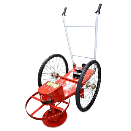 - โครงรถตัดหญ้าพร้อมอุปกรณ์ ล้อยางตัน ไม่รวมเครื่องยนต์ รถตัดหญ้า-ล้อยางตัน สีแดง