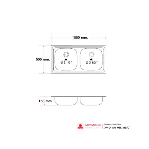 ADVANCE อ่างล้างจาน 2 หลุมไม่มีที่พักพร้อมสะดือB ท่อนํ้าทิ้งแบบย่น AVD-100 MB