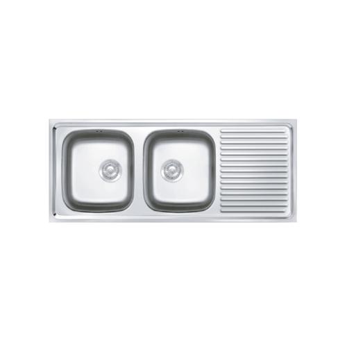 ADVANCE อ่างล้างจาน 2 หลุมมีที่พัก  พร้อมสะดือB ท่อนํ้าทิ้งแบบย่น  AV 120 MB